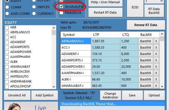 How to Open and close NLC RT data and Amibroker