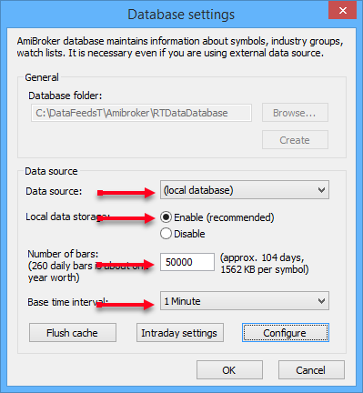 amibroker database settings